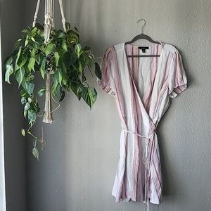 Striped Linen Wrap Dress